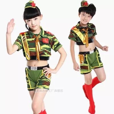 Modern dancewear Top and Pants suit children's dance costumes military camouflage uniform Jazz camouflage Suit Free shipping(China (Mainland))