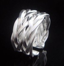 Braided Silver Plated RING Free yards WIDE 11 fashion jewellry Resizable Adjustable Ring Free shipping Retail SR024(China (Mainland))