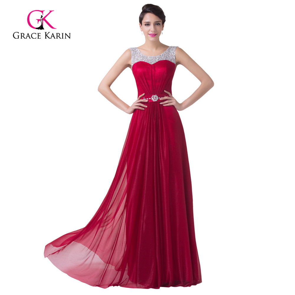 Cheap sequins beaded long red prom dresses 2015 floor for Formal dresses for weddings cheap