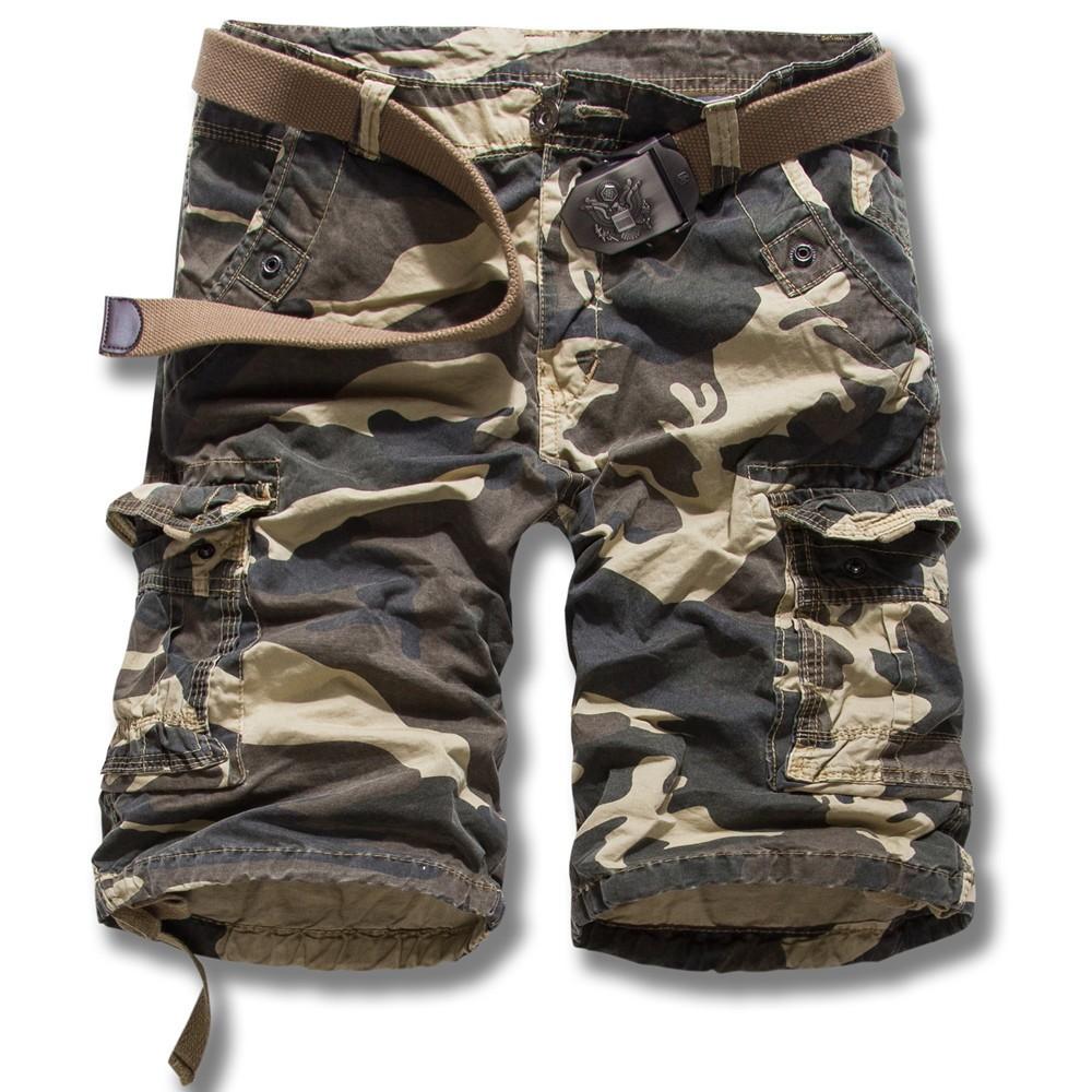 Summer 2016 Outdoors Men Camouflage bermuda Loose Baggy Multi-pocket cargo Overalls Cotton board shorts K55 3 color 29-38