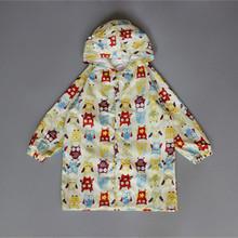 Owl Children Raincoat Poncho Boys and Girls Kids Cute Cartoon Poncho Owl Hooded Nylon Zipper Elastic Band Waterproof Rain Jacket