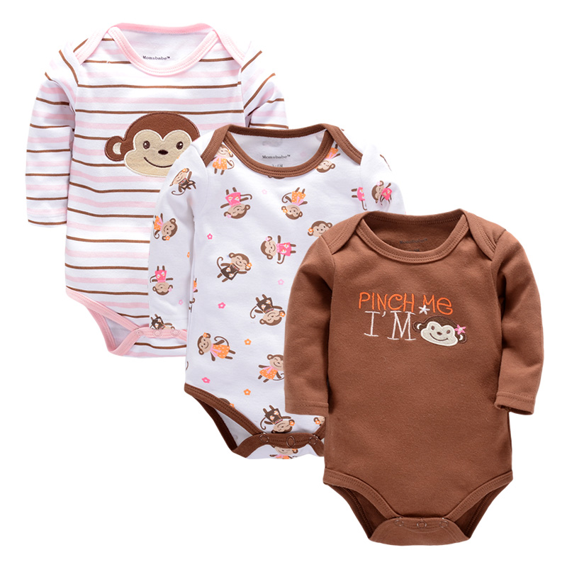 3 PCS 2017 Baby Boy Girl Short Sleeve Cotton Bodysuits Children O-neck Baby Body for 0-9 M Babies Clothing Baby Girl Clothes(China (Mainland))