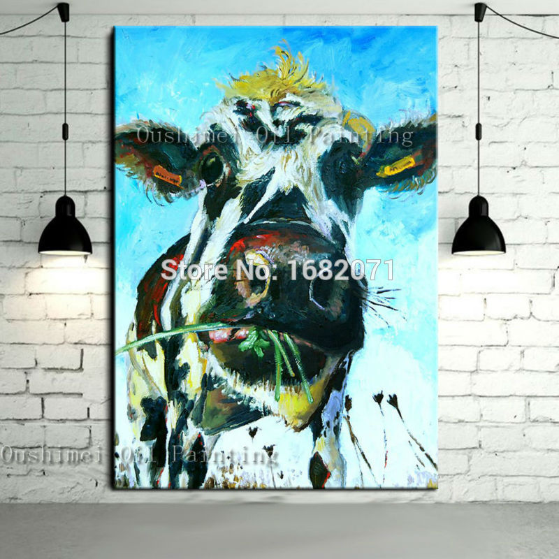 Free Shipping Skills Artist Handmade High Quality Abstract Animal Cow Oil Painting Pop Art Oil Paints For Living Room Decoration(China (Mainland))