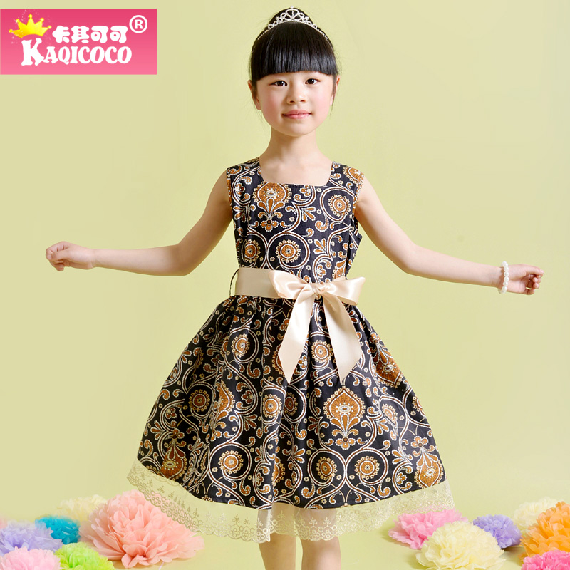 Summer Brand Toddler Girl Dress Lace A-line Dresses 2016 New Sleeveless Knee-Length Printed Girl Dress Free Belt Free Shipping