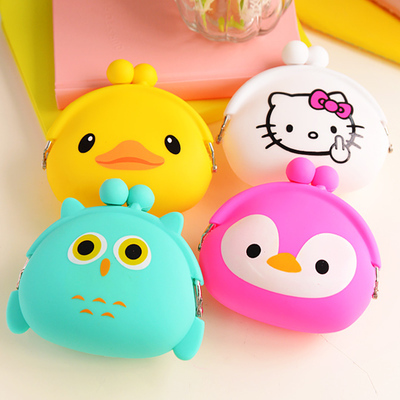Korean Candy Colored Girls Coin Bags Women Key Wallets Cute Cartoon Silicone Mini Coin Purse Children