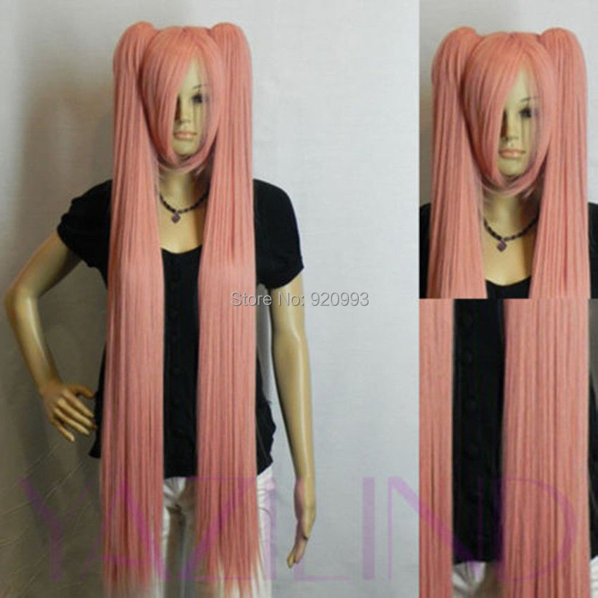 WQ &Wholesale&>>Straight Long Smoke Pink Cosplay 2 Clip-On Ponytails Synthetic Hair Full Wig