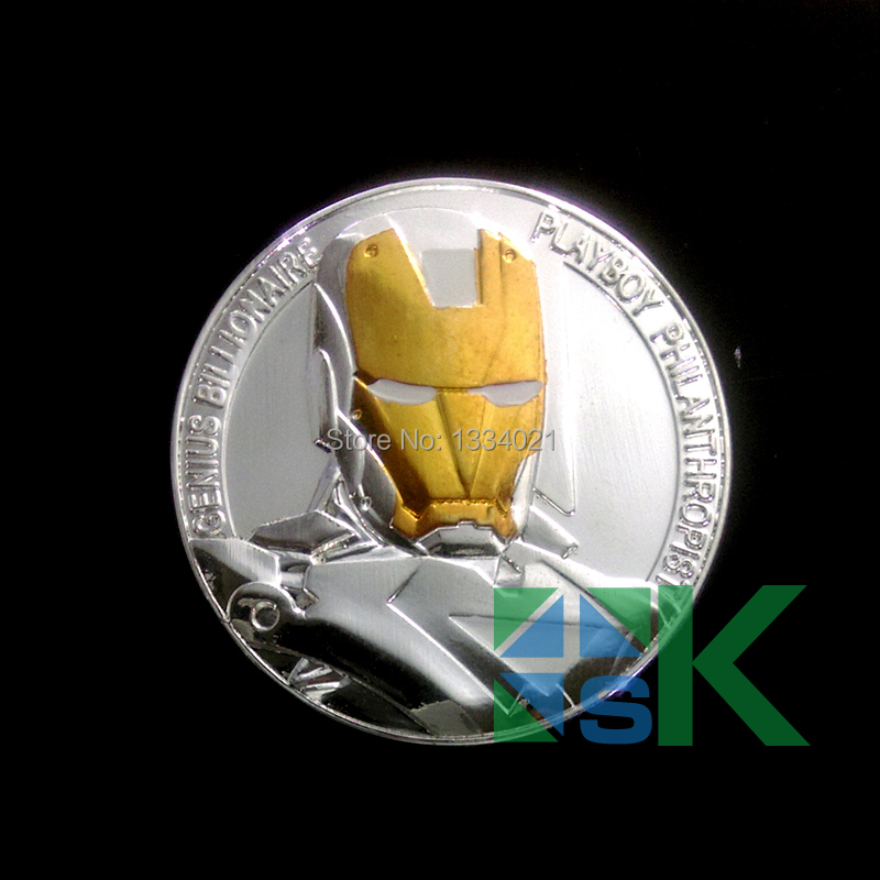 Moive The Avengers Iron Man prime design Challenge silver and gold plated collectable Coin 50pcs/lot DHL Free Shipping(China (Mainland))