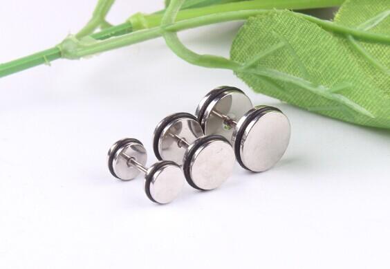 4pcs/lot Stainless Steel Fake Cheater Ear Plugs Gauge Fashion Body Piercing Jewelry For Men Women(China (Mainland))