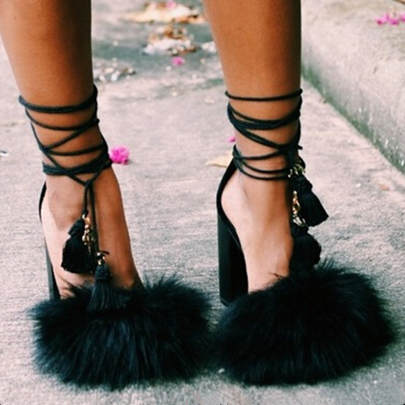 New Booty Impera Black Leather Gladiator Summer Women Sandals Boots feathers High Heels Fur Open Toe T-strap Shoes Woman <br><br>Aliexpress