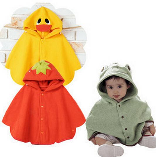 0-2Years/spring autumn girls winter jackets fleece Windproof cape coat Cartoon Cute newborn baby clothing kids clothes BC1189(China (Mainland))