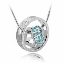Fashion 18K white gold plated austrian crystal fortunes women Pendants necklace