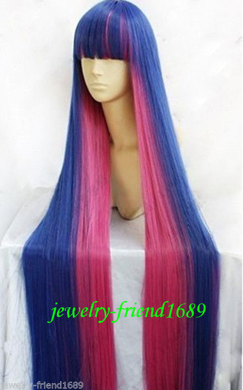Wholesale& heat resistant LY free shipping>>>New Cosplay Diao Daiwa Angel Stocking Blue & Pink Red Mix Straight Long Wig(China (Mainland))