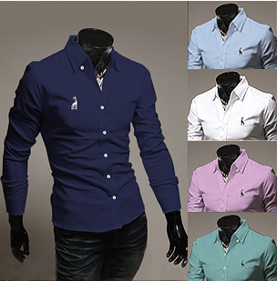 2014 New Style Men Shirt Deer Embroidered Long-sleeved Cotton White Sky Blue,Green,Navy,Pink - To Be No.1 store