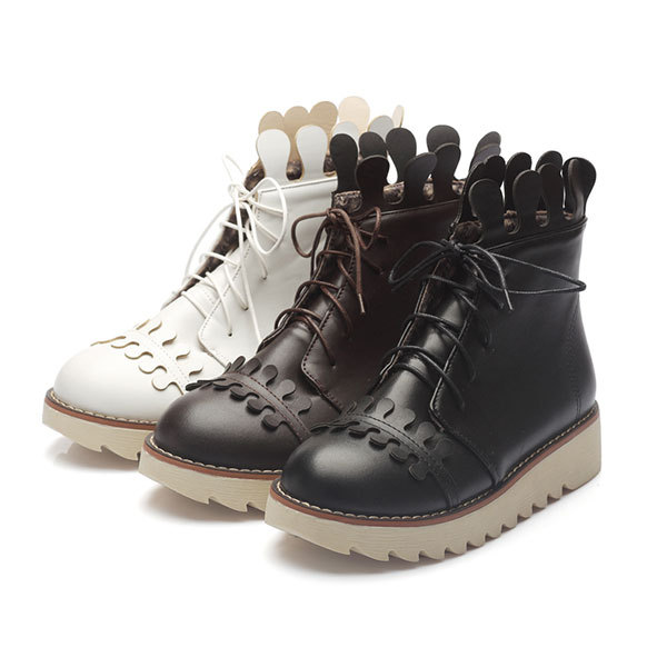 2015 spring/fall new comfortable high platform boots solid color cauasl wedge boots for women lace-up boots ankle shoes D3132<br><br>Aliexpress