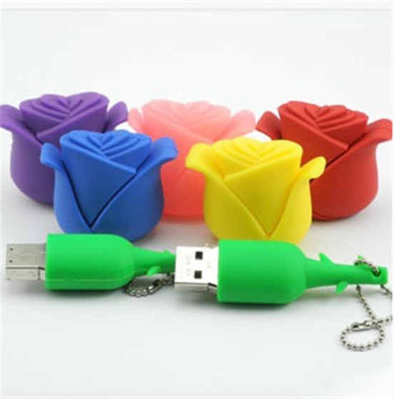Personalized gift for girl- roses USB 2.0 flash memory stick Flash Drives thumb pendrive u disk Wholesale/1GB-64GB S316(China (Mainland))