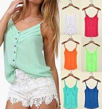 Summer Stylish Women Candy Color Spaghetti Chiffon Blouse Strap camisole Vest(China (Mainland))