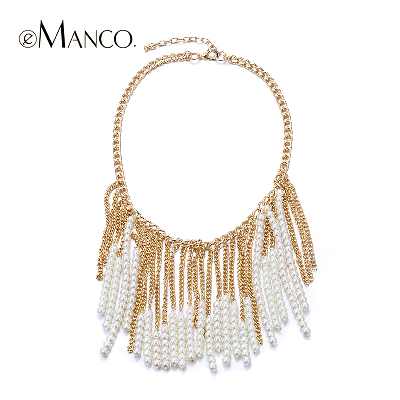 Golden chain necklace pearl tassel statement new spring arrival 2015 for women eManco zinc alloy trendy necklaces NL11056(China (Mainland))