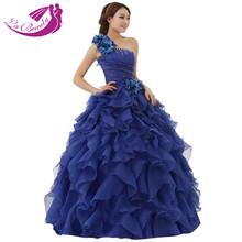 New Arrival Evening Dress Ball Gown One Shoulder Ruffle Rhinestone Evening Gown Prom Dresses Vestido De Festa Longo AZP028(China (Mainland))
