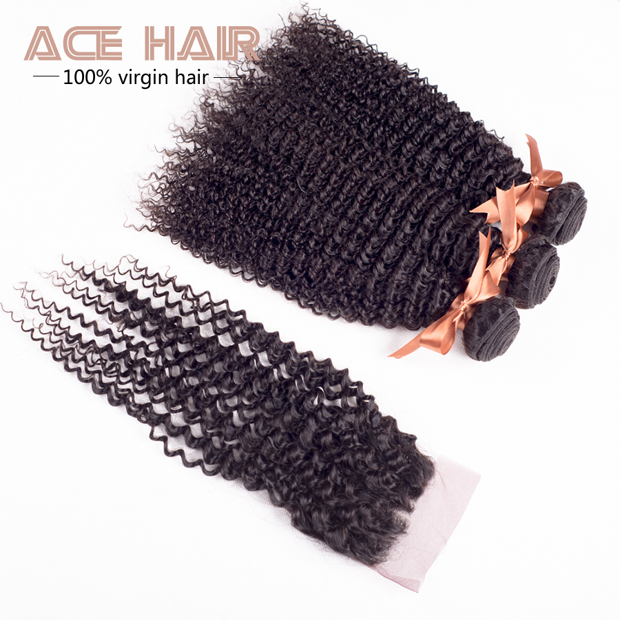 7A Grade Brazilian Kinky Curly Virgin Hair With Closure 4pcs Hair Products Human Hair Weave Virgin Curly Hair With Closure