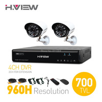 H.View 4CH CCTV System  4 Channel HDMI 960H CCTV DVR 2 700TVL IR Security Camera Home Security System Surveillance System