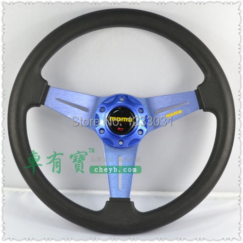 "Car styling MOMO 14"" PU leather car steering wheel /14'' blue madified universal steering wheel/motorcycle race steering wheel(China (Mainland))"