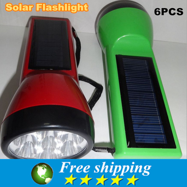 Hot Sale durable 7 LED solar super flashlight torch camp lamp travel light outdoor,125 * 40 mm, free shipping. 6x(China (Mainland))