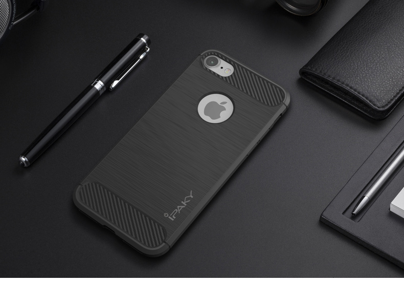 New iPaky brand Case for iPhone 7 7 Plus Carbon Fiber Texture Brushed Soft Silicone TPU Back Cover for Apple iPhone 7 / 7 Plus