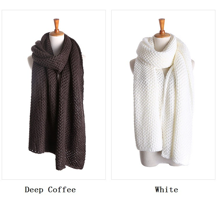 ZA Brand Cashmere Winter Women Scarves Knitted Solid Scarf Soft Acrylic Warm Shawls and Scarves Thicken Big Size Pashmina 200*40