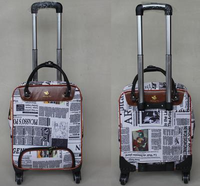 "child's18""inch Fashion cartoon cute portable travel bag universal wheels canvas trolley luggage, female large capacity Suitcase(China (Mainland))"