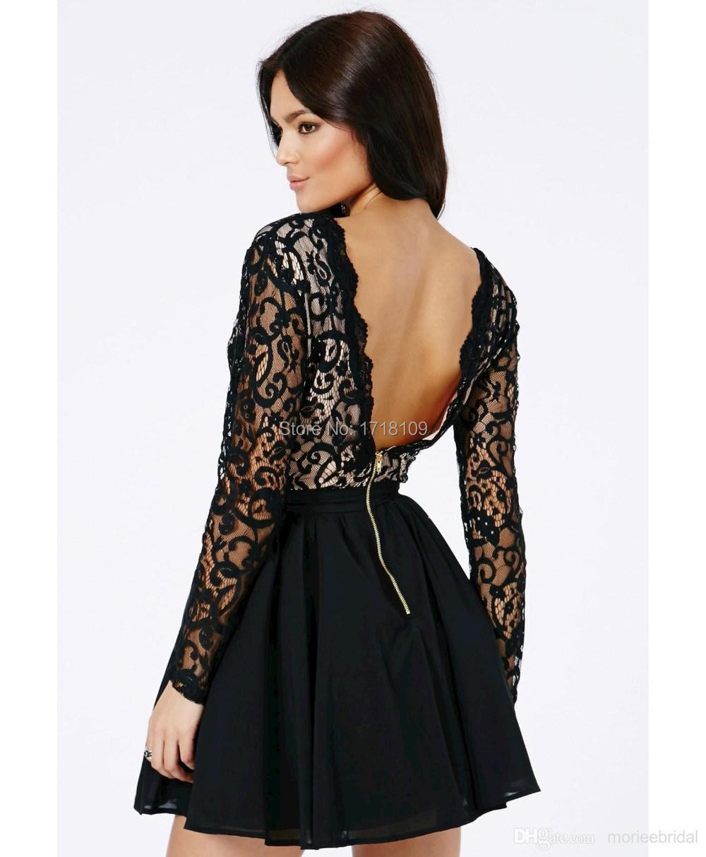 V Neck Cocktail Dress Black - Prom Dresses Vicky
