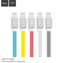 HOCO 30cm 1.2m 2m Colorful waffle flat noodle usb cable 8 pin lightning charging mobile phone cables for iPhone 5s 6 6s Plus