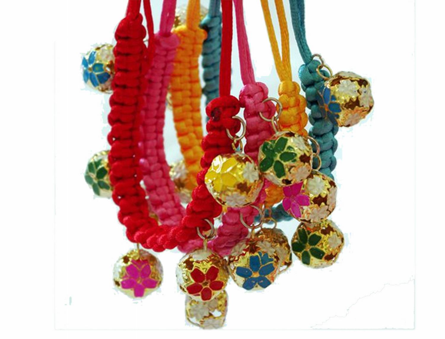 Pet Cat Dog Accessory Hand-knit Collar Neck Strap w/ Cloisonn Bells(China (Mainland))