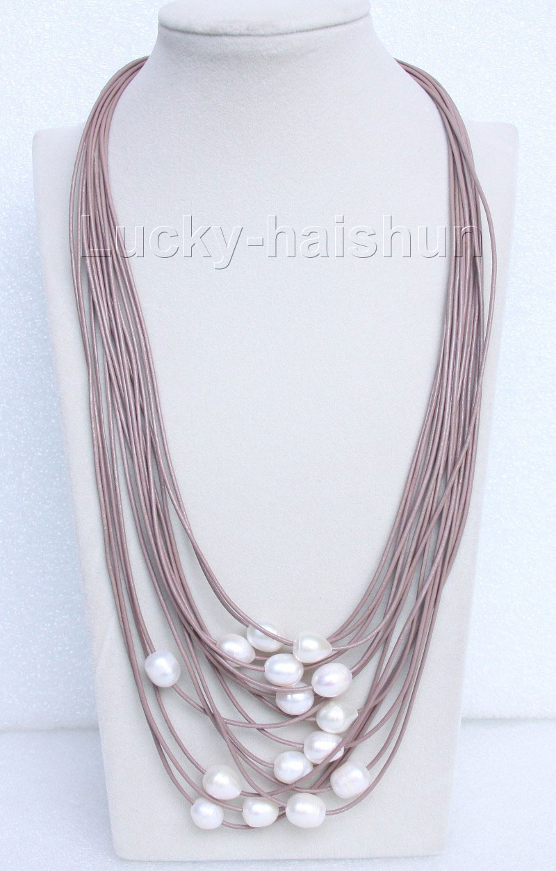 """Hot selling free shipping******* 21"""" 15row 14mm white pearls coffee leather necklace magnet clasp(China (Mainland))"""
