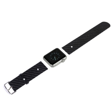 Brown Band 38mm Carbon Fiber Texture Replacement Leather Watchband for Apple Watch