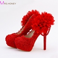 Red Lace Applique Evening Dress Shoes Sapatos Femininos Valentine Women High Heels Bridal Wedding Party Shoes