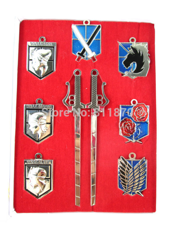 Free shipping Attack on Titan Cosplay Eren Survey Corps Freedom Wings Necklace KeyChains Phone Strap Gifts 8Pcs/Sets With Box(China (Mainland))