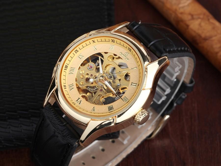 GOER марка Скелет мужские наручные часы Кожа механическая водонепроницаемый движение Световой человек автоматические часы