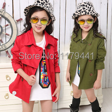new arrive Free shipping autumn Fashion children double breasted trench kid clothing girl's jacket children's coat wholesale(China (Mainland))