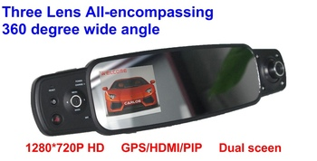 Free shipping Rear View Mirror HD Car DVR with 3 Cameras 3.0'' TFT Car Mirror Night Vision with GPS+G-Sensor+H.264,2000B Car DVR