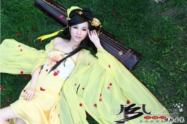 Hanfu Female Costume Elegant Yellow Chiffon Dress Ancient Chinese Maid Guzheng Playing Costume(China (Mainland))