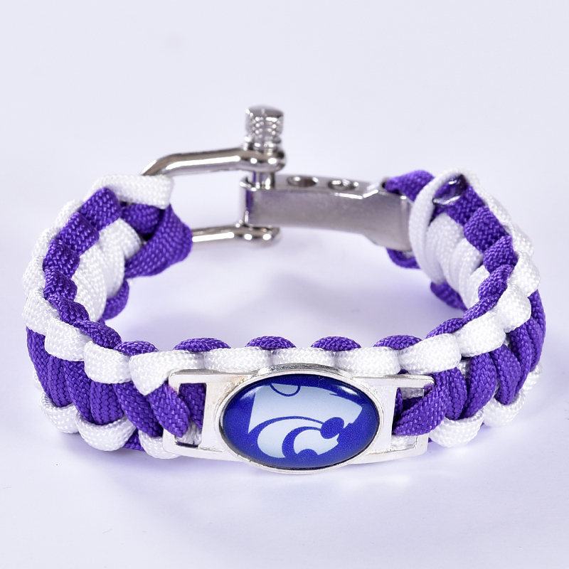 Kansas State Wildcats Custom Paracord Bracelet NCAA College Football Charm Bracelet Survival Bracelet,Drop Shipping! 6Pcs/lot!(China (Mainland))