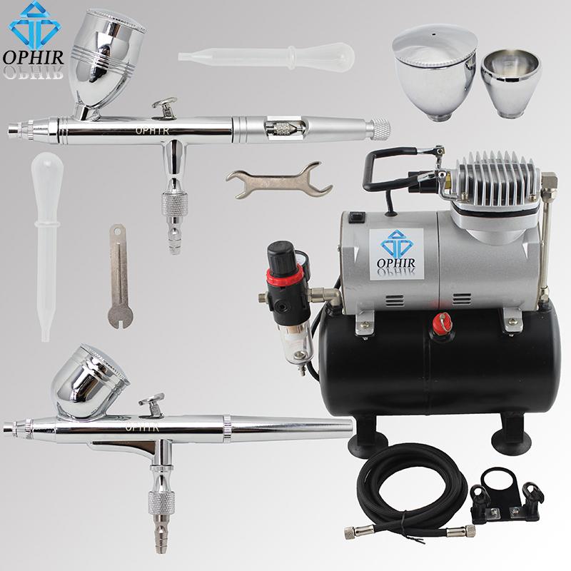 OPHIR 2 Air Brush Guns with PRO Tank Air Compressor 110V 220V Airbrush Set for Model Hobby Car/Cake/Toys Paint _AC090+004A+006(China (Mainland))