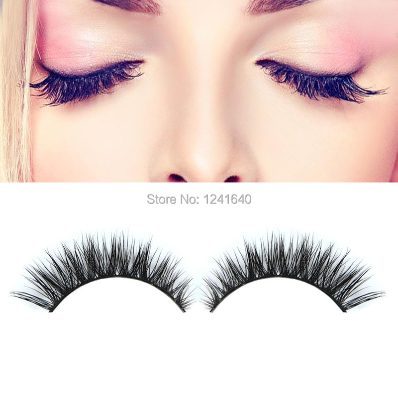 2015 NEW 3D Fashion Bushy Cross Natural False Eyelashes Mink hair Handmade Eye Lashes #BSEL(China (Mainland))