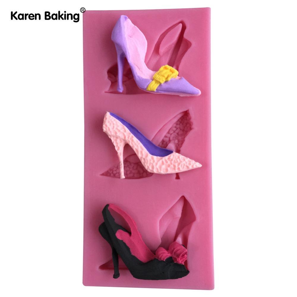 Fondant Silicone Molds Fashion Style High-heeled Shoes Decorated Chocolate Mold Fondant Cake Mold---C659(China (Mainland))