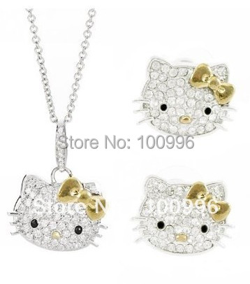 Fashion Women Summer Jewelry Necklace + Stud Earrings Sets Hello Kitty Jewelry Set In Gold Bow For Women Fine Jewelry HT-7958(China (Mainland))