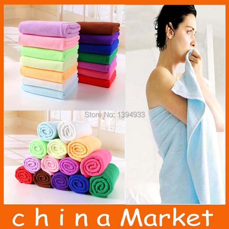 High Qualiyt 14 Color 70x140cm Cotton Absorbent Microfiber Bath Beach Towel Drying Washcloth Swimwear Shower+Free Shipping(China (Mainland))