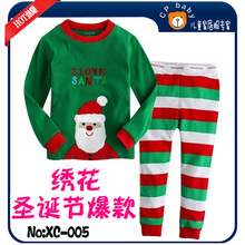 Free shipping 6 sets/lot boy gril's pajamas suit garment tee shirt Christmas suits Xmas pant trouser baby body suits(China (Mainland))