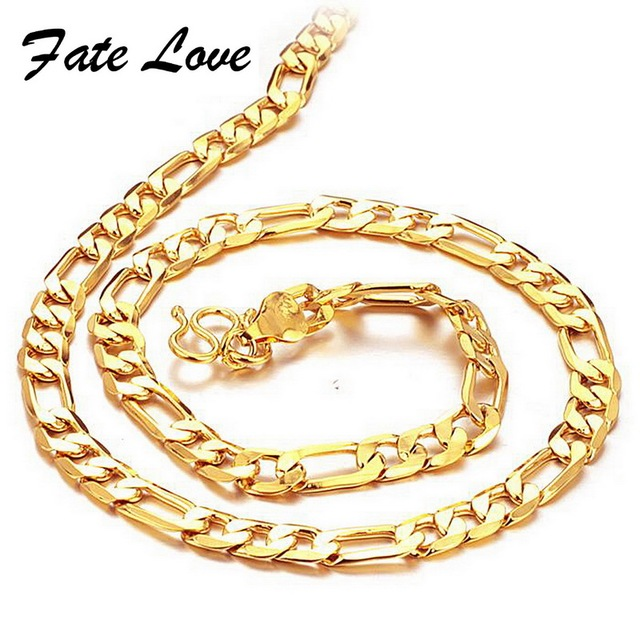 """Men's Gold chains 18K yellow gold Plated necklace thick bright bead link 20"""" length 6mm width wedding jewelry FREE SHIPPING 437"""