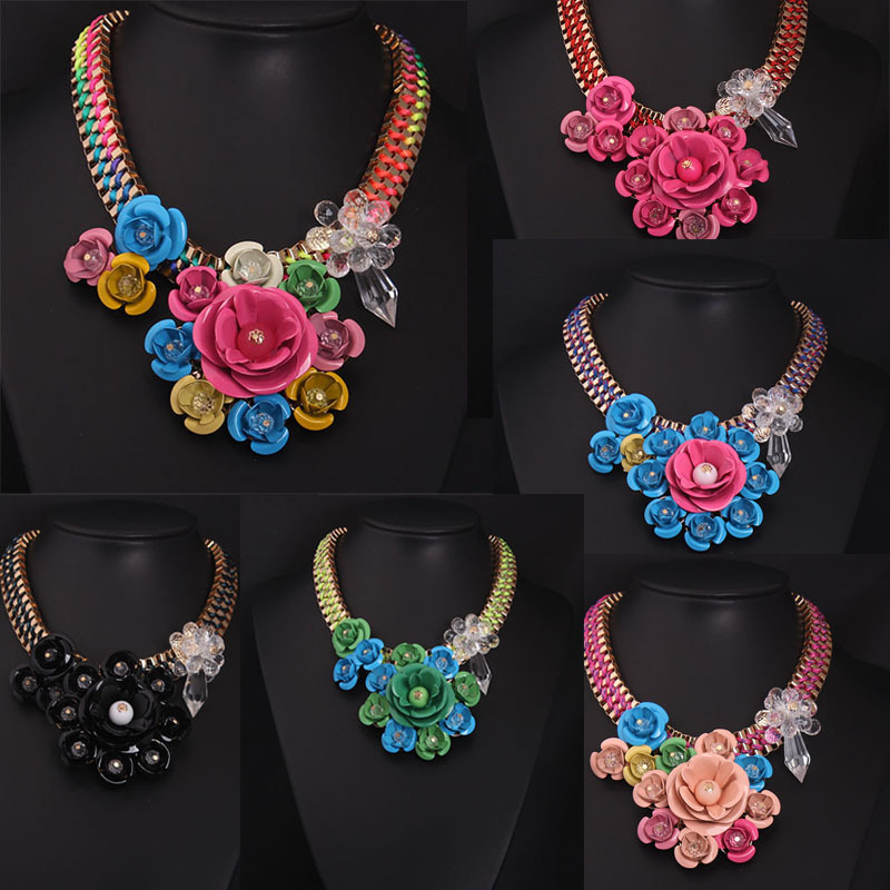 New Women Metal Flower Necklace Fashion Gold Chain Collar Choker Necklaces & Pendant Bib Statement Jewelry Woven Necklace 2016(China (Mainland))