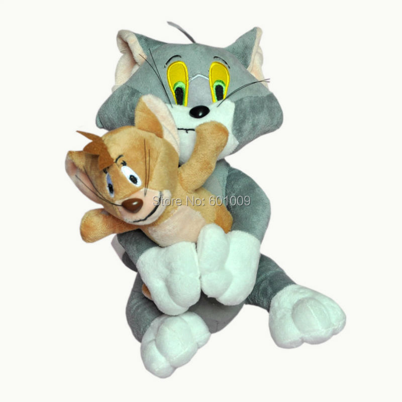 "2pcs/set Baby Toys Cat Tom And Jerry Mouse 10"" Plush Stuffed Toys Dolls Free Shipping(China (Mainland))"